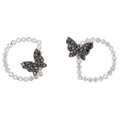 1.68 Carat Black Diamond Butterfly 14 Karat White Gold Earrings