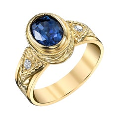 1.68 Carat Blue Sapphire, Diamond Ring Yellow Gold Engraved Bezel Band Ring