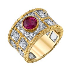 1.68 Carat Burmese Ruby Diamond White Yellow Gold Florentine Wide Band Ring