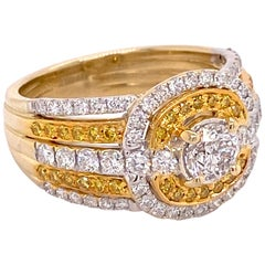 1.68 Carat Diamond and Natural Fancy Yellow Diamond Ring in Yellow Gold