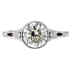 1.68 Carat EGL Certified Old European Cut Diamond Set in a Platinum Mounting