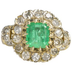 1.68 Carat Emerald 1.32 Carat Mine Cut Diamonds Gold Engagement Ring