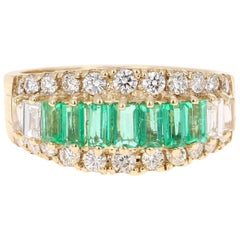 1.68 Carat Emerald Diamond 14 Karat Yellow Gold Band