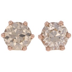 1.68 Carat European Diamond Earrings 14 Karat Gold Champagne Brown Stud Pierced