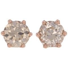 1.68 Carat European Diamond Earrings 14 Karat Gold Champagne Brown Stud Pierced