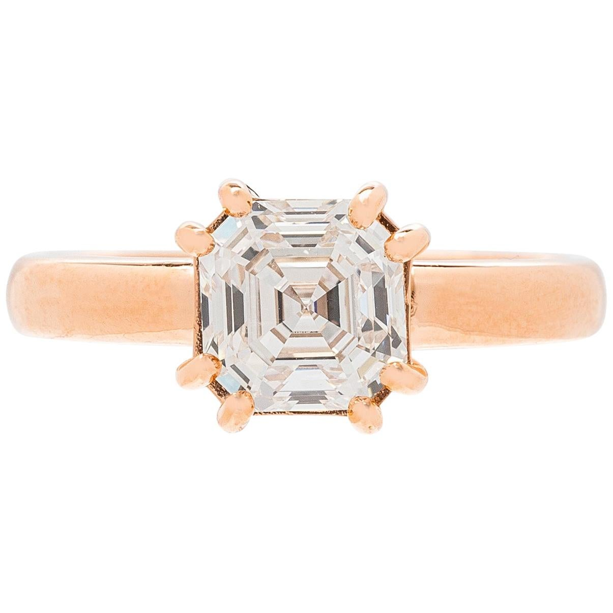 1.68 Carat GIA G/IF Square Emerald Cut Diamond Rose Gold Ring
