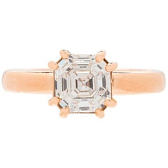 1.68 Carat GIA G/IF Square Emerald Cut Diamond Rose Gold Ring