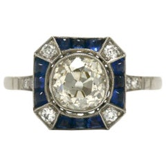 1.68 Carat Old Mine Cut Diamond Engagement Ring Art Deco Style Octagon Sapphire