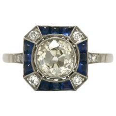 1.68 Carat Old Mine Cut Diamond Engagement Ring Art Deco Style Octagon Sapphire