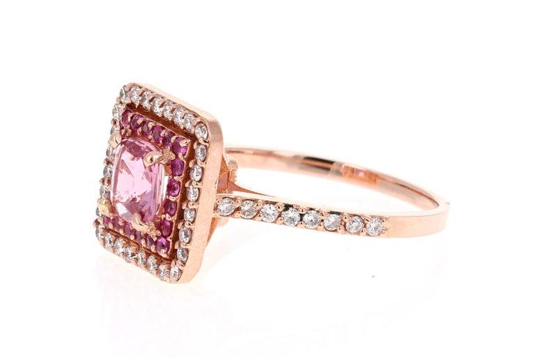 Modern 1.68 Carat Cushion Cut Pink Sapphire Diamond 14 Karat Rose Gold Bridal Ring For Sale