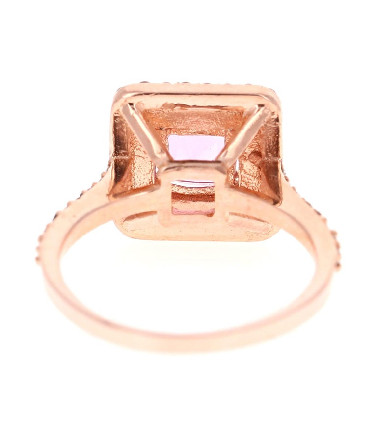 1.68 Carat Cushion Cut Pink Sapphire Diamond 14 Karat Rose Gold Bridal Ring In New Condition For Sale In San Dimas, CA