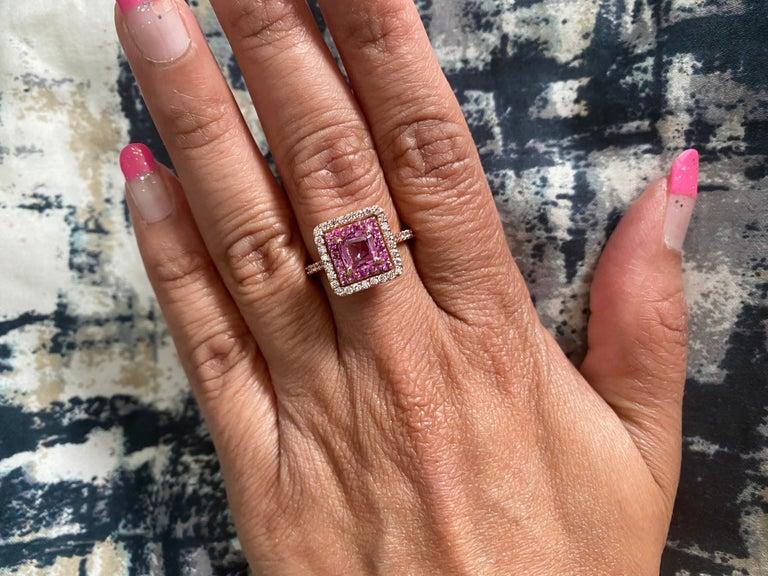 1.68 Carat Cushion Cut Pink Sapphire Diamond 14 Karat Rose Gold Bridal Ring For Sale 2