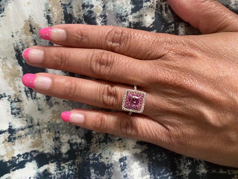 1.68 Carat Cushion Cut Pink Sapphire Diamond 14 Karat Rose Gold Bridal Ring For Sale 3