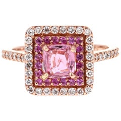1.68 Carat Cushion Cut Pink Sapphire Diamond 14 Karat Rose Gold Bridal Ring