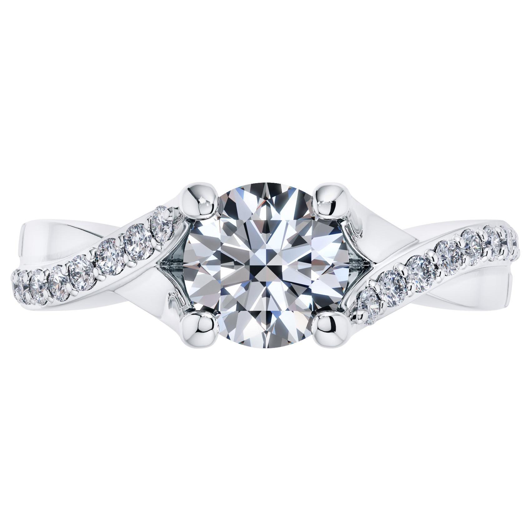 1.68 Carat Round Diamond Twisted 18 Karat White Gold 4 Prong Engagement Ring