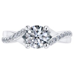 1.68 Carat Round Diamond Twisted 18 Karat White Gold 4 Prong Engagement Ring
