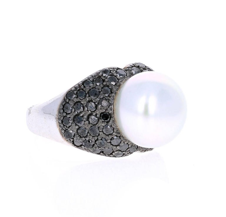 Modern 1.68 Carat South Sea Pearl Black Diamond Cocktail Ring For Sale