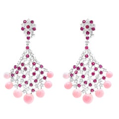 "16.80 Carat Caribbean ""Conch Shell"" and 4.17 Carat Ruby Chandelier Earring"