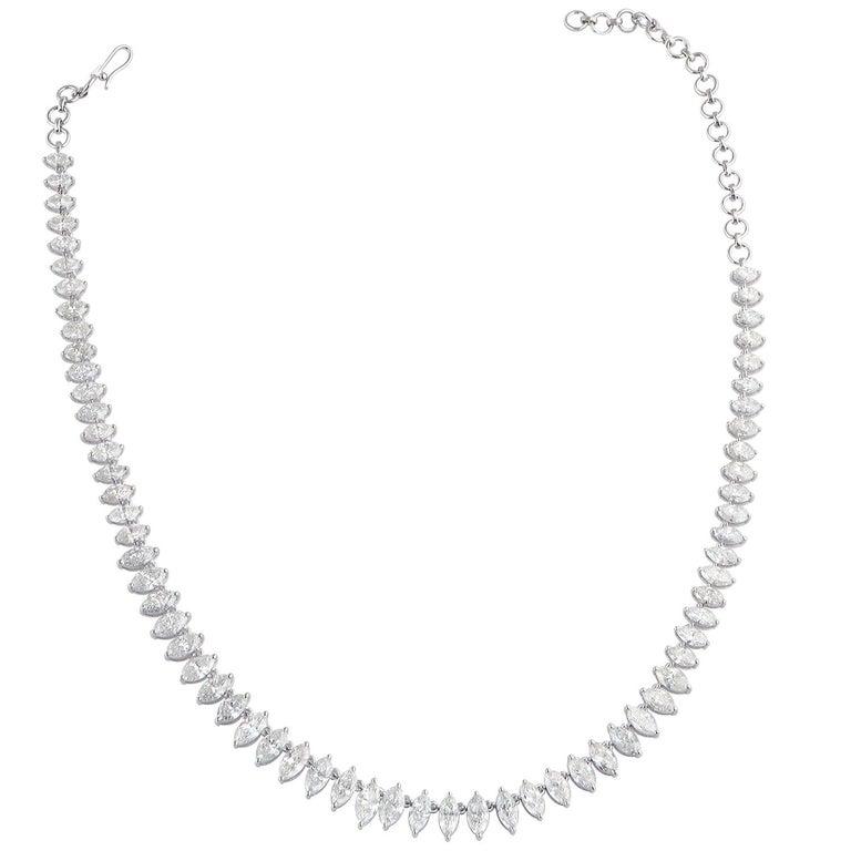 16.80 Carat Diamond 18 Karat Gold Marquise Graduated Tennis Necklace For Sale