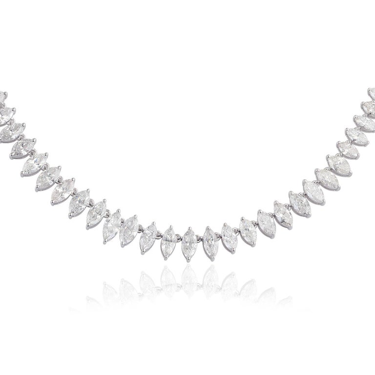 Cast from 18-karat white gold, this marquise necklace is hand set with 16.80 carats of sparkling diamonds.   FOLLOW MEGHNA JEWELS storefront to view the latest collection & exclusive pieces. Meghna Jewels is proudly rated as a Top Seller on 1stdibs