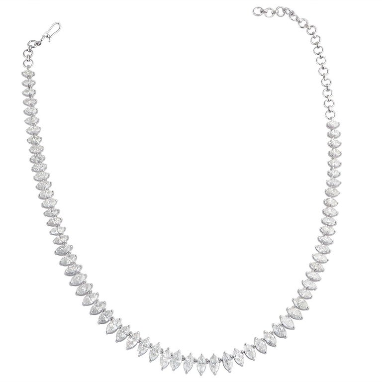 Marquise Cut 16.80 Carat Diamond 18 Karat Gold Marquise Graduated Tennis Necklace For Sale