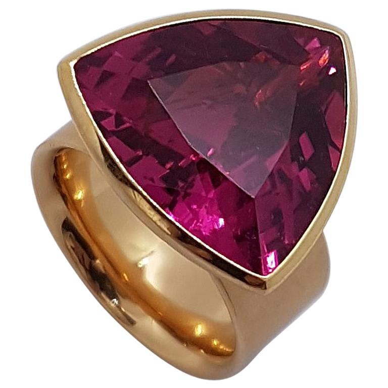 16.84 Carat Rubellite Red Gold Ring by Georg Spreng For Sale