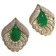 16.86 Carat Natural Emerald Cabochons with 8.89 Carat Diamond Earrings