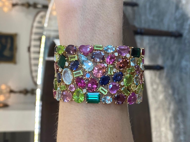 Modern 168.9 Carat Multi Colored Tourmaline and Diamond Bracelet in 18KT Yellow Gold For Sale