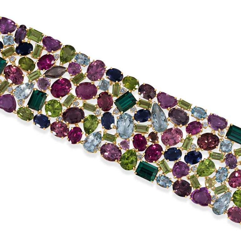 168.9 Carat Multi Colored Tourmaline and Diamond Bracelet in 18KT Yellow Gold In New Condition For Sale In Houston, TX