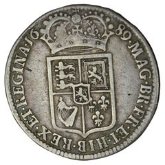 1689 William and Mary Half Crown Coin