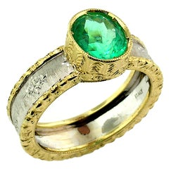 1.68ct Colombian Emerald in an 18kt Gold Ring, Handmade and Engraved in Italy