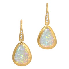 1.68ct Crystal Opal Earrings with .04ct Diamond Accent in 18k Matte Yellow Gold