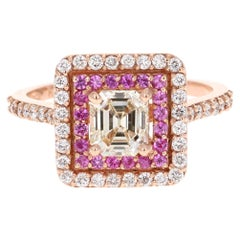 1.69 Carat Asscher Cut Diamond Engagement Ring 14 Karat Rose Gold