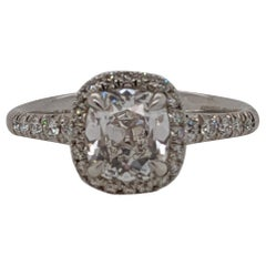 1.69 Carat Classic Cushion Cut Diamond Ring in Platinum GIA