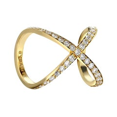 1.69 Carat Diamond 18 Karat Yellow Gold Crossover Cuff Cluster Ring