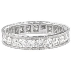 1.69 Carat Diamond Eternity Band 18 Karat White Gold with Filigree Work