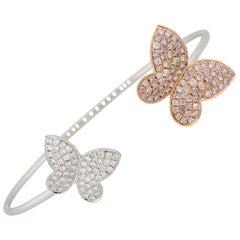 1.69 Carat Diamond Open Cuff Butterfly Bangle Bracelet 18 Karat in Stock
