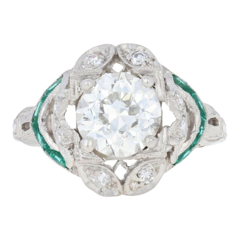 1.69 Carat European Cut Diamond and Simulated Emerald Art Deco Ring Platinum GIA