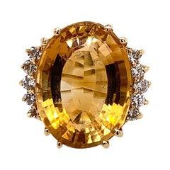16.9 Carat Retro Gold Cocktail Ring Natural Diamond & Citrine Quartz, circa 1970