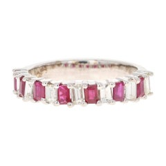 1.69 Carat Ruby Diamond 18 Karat White Gold Band