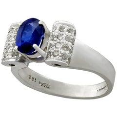 1.69 Carat Sapphire Diamond and White Gold Cocktail Ring