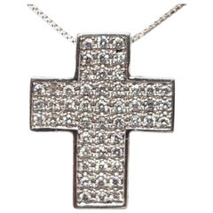 1.69 Carat White Gold Necklace Diamond Cross Pendant