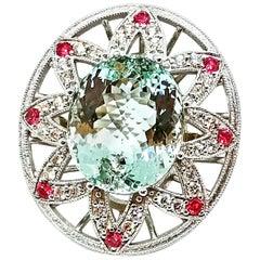 16.90 Carat Brazilian Aquamarine Diamond Intense Red Pink Spinel Cocktail Ring