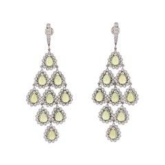16.90 Carat Pear Shape Peridot Cabochons Diamond Chandeliers 18 Karat Earrings
