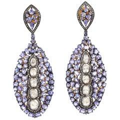 16.91 Carat Tanzanite Diamond Earrings