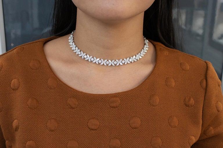 Women's or Men's 16.92 Carat Diamond Floral Motif Bracelet Necklace For Sale