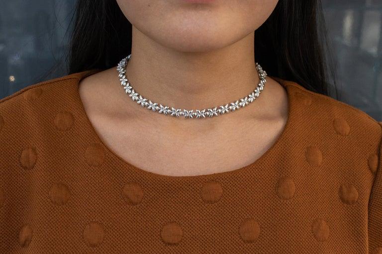 16.92 Carat Diamond Floral Motif Bracelet Necklace For Sale 3