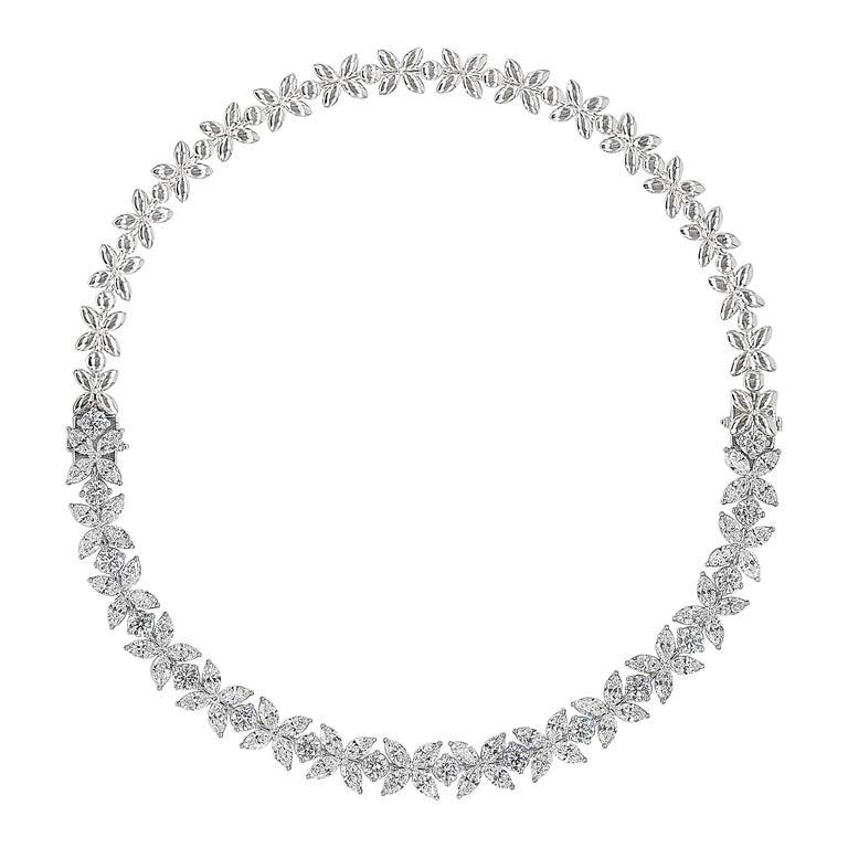 16.92 Carat Diamond Floral Motif Bracelet Necklace For Sale
