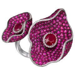 16.95 Carat Oval Ruby and Diamond 18 Karat White Gold Cocktail Ring