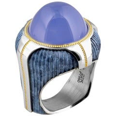 16.96 Carat Chalcedony Geometric Ring in Bronze and Platinum by Zoltan David